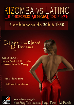 flyer mercredi sensual, latino vs Kizomba
