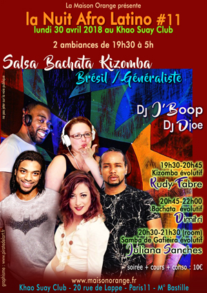 flyer Nuit Afro Latino #11, soirée latino de la Maison Orange du 30 avril 2018