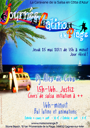 flyer Journée Latino à la plage, au Stone Beach