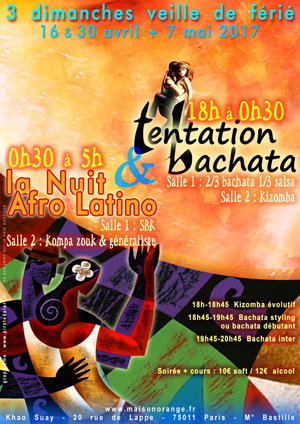 flyer Tentation Bachata & la Nuit Afo Latino, nuit latino de la Maison Orange